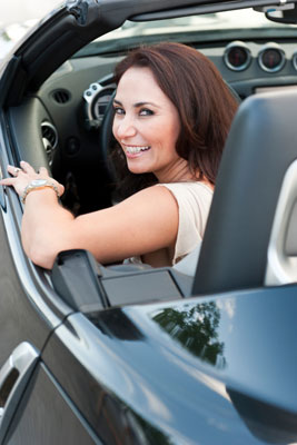 Woman in beautiful car