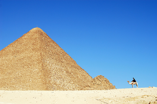 Man and pyramid