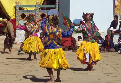 Bhutan festival dancers